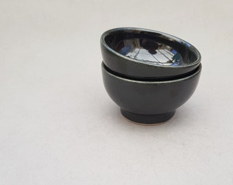 Small black ceramic bowls -- Handmade stoneware ceramics