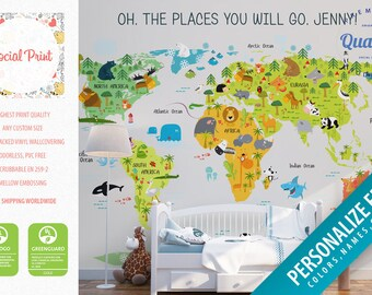 Nursery wallpapers etsy nursery animal world map wallpaper non woven wall covering free shipping washable publicscrutiny Gallery
