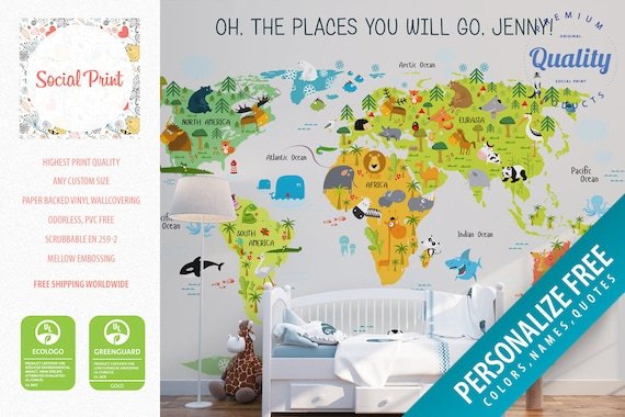 Nursery animal world map wallpaper non woven wall covering gumiabroncs Images