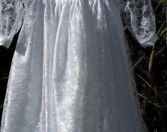 White Lace over White Satin. Christening / Baptismal Gown