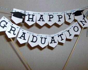 Happy Graduation Cake Topper, Graduation Cake Topper, Congratulations, Cake Topper Mini Banner, Graduation Mini Cake Topper