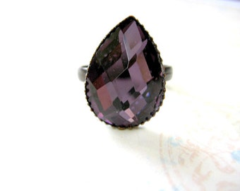 Purple Adjustable Ring, Amethyst  Drop Faceted Ring