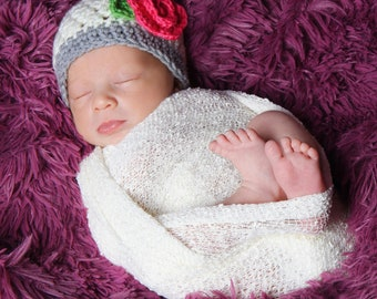 Crochet baby hat. Newborn crochet hat. Baby girl hat. Summer baby hat. Newborn photo prop. Coming home hat. Hat for baby girl.