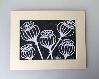Poppy Seed Heads Lino Print
