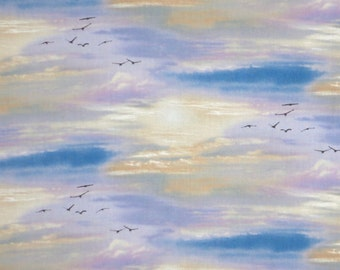Lovely Muted Sunset Sky with Birds Print Pure Cotton Fabric--By the Yard