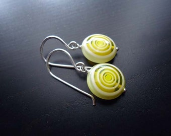 Glass Earrings, Yellow and White, Dangle Earrings, Sterling Silver