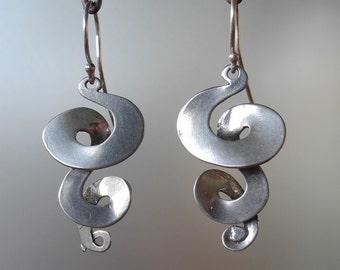 Sterling Silver Triple Curl  drop Earrings