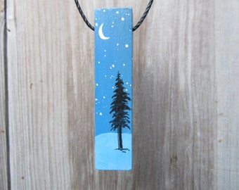 Wood necklace, starry night with fir tree
