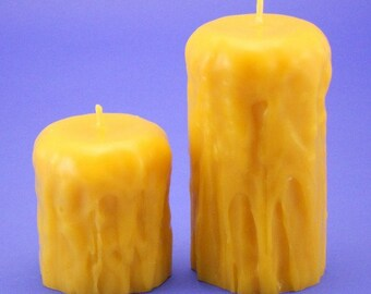 Beeswax Candles, 2.4 x 3 and 2.4 x 5 Dripless Candles, Organic Beeswax Candles, Handmade Bees Wax CandlesEco Friedly Candles,