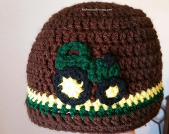 Crochet tractor beanie
