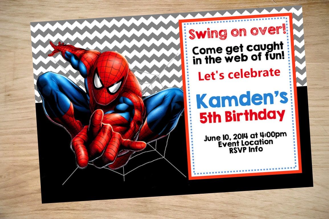 Divine image within printable spiderman invitations