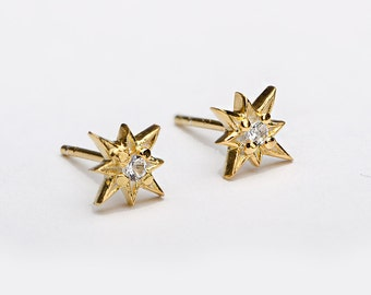 White Zirconia Starburst Stud Earrings, Sterling Silver, Gold Plated, North Star Earrings, Minimal Lunaijewelry, Mothers Day Gift, STD049WCZ