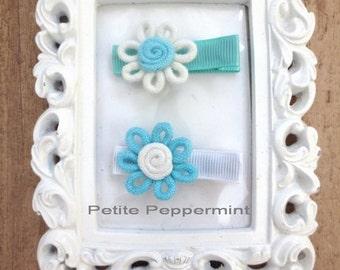 Mallory - Set of 2 Flower Hair Clips, Baby hair clip, baby girl, infant, toddler, girl hair bow, baby barrette
