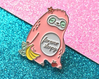 Forever Sleepy Sloth Pin - Sloth Pin - Soft Enamel pin - Pink Sloth - Animal Badge - Gift - Cute Pin - Kawaii Pin - Pins - Nap pin - Sleepy
