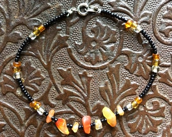 Tangerine Quartz Beaded Bracelet