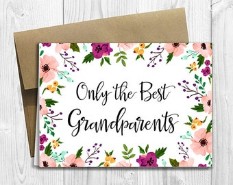 PRINTED CUSTOM Only the Best Grandparents Get Promoted to Great Grandparents Pregnancy Announcement 5x7 Greeting Card - Watercolor Flowers