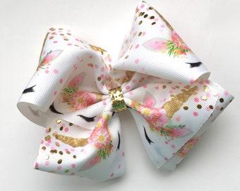 Extra large boutique unicorn print bow, extra large hair bow, big boutique hair bow, large boutique hair bow, unicorn hair bow pink gold