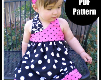 "Girls Dress Pattern, PDF Sewing Pattern, Easy Sewing PDF Patterns for Beginners, 12m-5t, ""The Avery Dress"""
