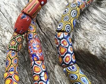 African Trade Bead Strand. Circa 1850s. Venetian Millifiori Glass. 51 beads