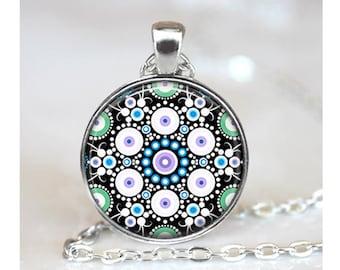 Mandala Art Pendant, Blue Purple, Abstract Art Pendant, Mandala Necklace, Original Dot Painting Pendant, Mandala Glass Dome Pendant m06
