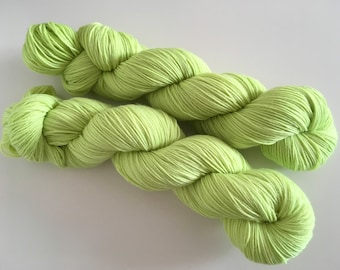 Lime Semi Solid Hand Dyed Superwash Merino Sock Yarn