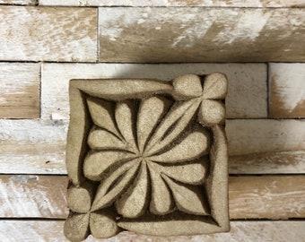 Vintage Wood Printing Block Stamp Made in India Floral/Flower Square/Diamond Design (#18)