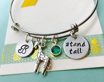 Giraffe Bracelet, Giraffe Jewelry, Stand Tall, Be Different, Adjustable Bracelet, Giraffe Charm Bracelet, Personalized Initial Jewelry,