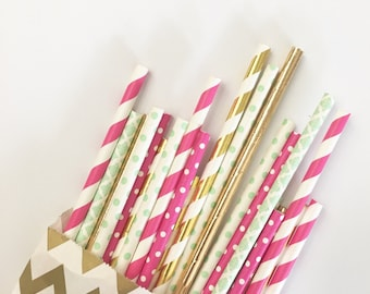 Lush straw mix//paper straws, straws, birthday party, baby shower, bachelorette party, wedding, party supplies, party decorations, decor