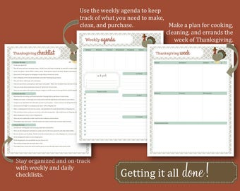Thanksgiving Planner / Holiday Printable / Printable Organizer /  Thanksgiving Timeline / Calendar / Recipe Cards / Guest List