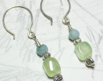tranquility earrings Aquamarine and Prehnite