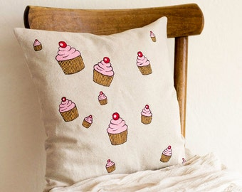 Cupcake Pillow Cover, 16 x 16 Hand Painted Cushion Cover, Linen and Cotton Kitchen Decor, Cupcake Home Decor