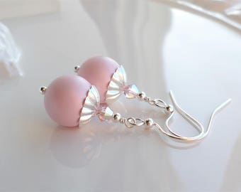Pink Pearl Earrings, Pink Crystal Earrings, Simple Pearl Drop Dangle Earrings, Swarovski Crystal Pearl Earrings, Pink Pearl Silver Earrings