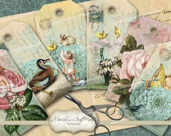 SPRING ROMANCE Printable Easter Gift Tags - Digital Collage Sheet, Instant Digital Download, Vintage Paper Spring Cards, Jewelry holders