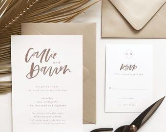 The Kelly Wedding Invitation Suite, Minimalist Wedding Invites, Calligraphy Wedding Invitation, Modern Wedding, Printable Wedding Invitation
