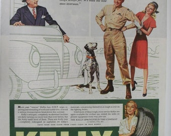 Tires  #124  Kelly Springfield Tires  Magazine Ad -  1945