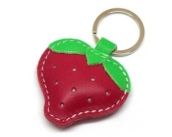 Leather Keychain Red Strawberry Handmade - FREE Shipping Wordlwide - Handmade Leather Strawberry Bag Charm, Keychain Gift Ideas