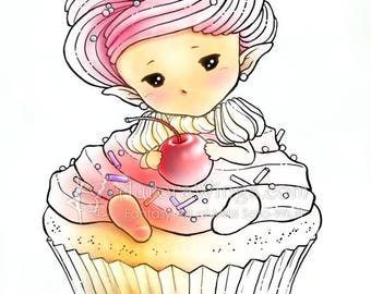 Digital Stamp - Whimsical Cupcake Sprite - Sweet Baby in Frosting with Cherry - Fantasy Line Art for Cards & Crafts by Mitzi Sato-Wiuff