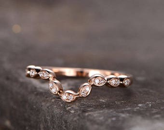 Curved Sharp V shape gap ring/Sterling silver ring/rose gold plated wedding band/CZ wedding ring/stackable ring/Matching band/marquise band