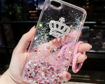 Transparent сover on Iphone 6 6s with crown, sparkling hearts, liquid sand, quicksand with cord pink purple