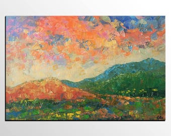 Oil Painting Landscape, Abstract Mountain Landscape Art, Large Abstract Painting, Original Art, Living Room Wall Art, Heavy Texture Painting