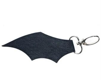 Black Faux Leather Bat Wing Keyring Bag Charm Clip