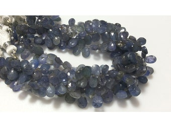 Tanzanite Beads/ Faceted Beads/ Tanzanite Briolette Beads, Pear Beads, 5x7mm Each, 33 Pieces, 4 Inch Half Strand
