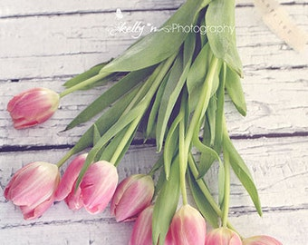 Tulips Photo- Pink Tulips Print, Flower Photography, Floral Still Life, Pink Green, Pink Flower Wall Art, Floral Decor, Love Art, Spring Art