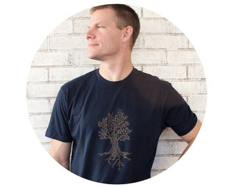 Men's Tree Shirt, Unisex Tshirt, Navy Blue Cotton Crewneck Short Sleeved Graphic Tshirt Gift for him Gifts For Nature Lovers Men's Clothing