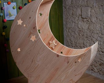 Cradle moon stars + raw wooden storage drawer