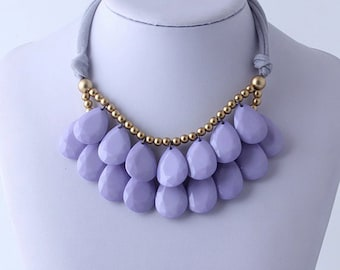 Anthropologie Lilac Purple Necklace, Bib Necklace, Lilac Purple Statement Necklace, Teardrop Necklace, Statement Necklace