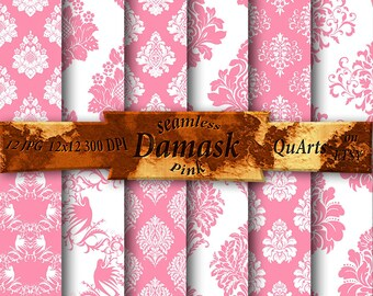 Pink Damask Digital Paper: Pink Damask Paper, Pink Damask Patterns Set, Soft Pink Damask Backgrounds, Printable Light Pink Damask Designs