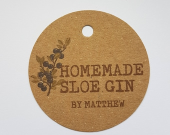 10x Personalised Homemade sloe gin tags, handmade tags, bottle tags, vodka tags, homemade labels, gift tags, homemade gin, wedding favours