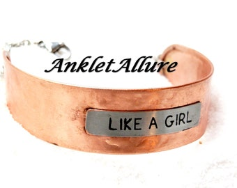 Ankle Bracelet LIKE A GIRL is AWESOME Anklets for Women Copper Anklet