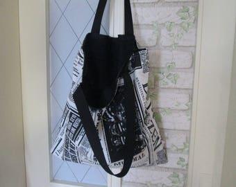 Bag Zipper Black newspaper Long handle